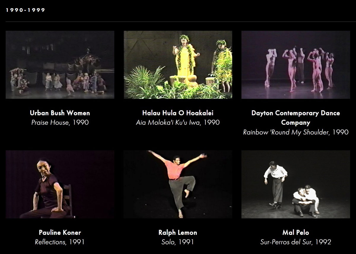 Crop from Jacob's Pillow website of the first few videos of the decade.<br />© Jacob's Pillow. (Click image for larger version)