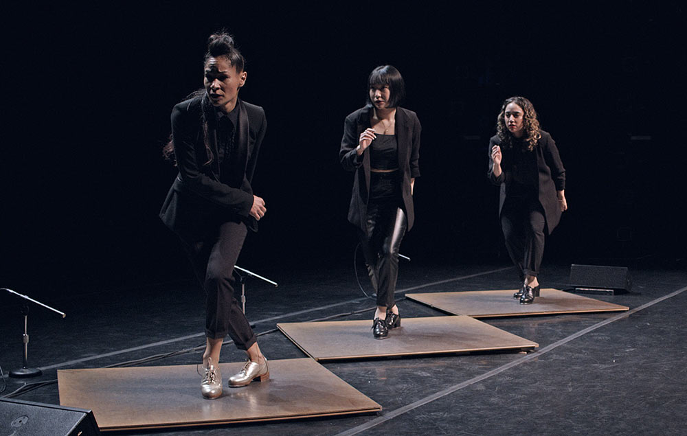 Ayodele Casel, Naomi Funaki and Amanda Castro in video still from Ayodele Casel: <I>Chasing Magic</I>, filmed by Kurt Csolak. (Click image for larger version)