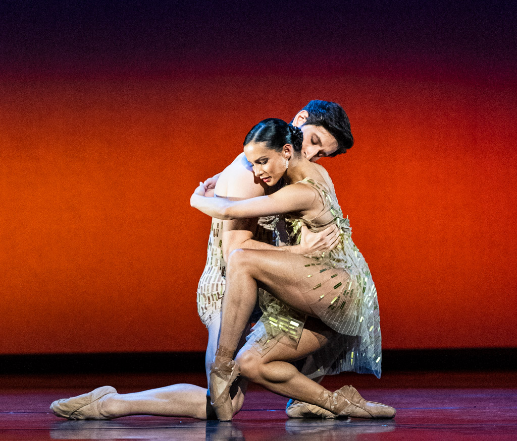 Francesca Hayward and Valentino Zucchetti in Christopher Wheeldon's <I>Within the Golden Hour</I>.<br />© Foteini Christofilopoulou, courtesy the Royal Opera House. (Click image for larger version)