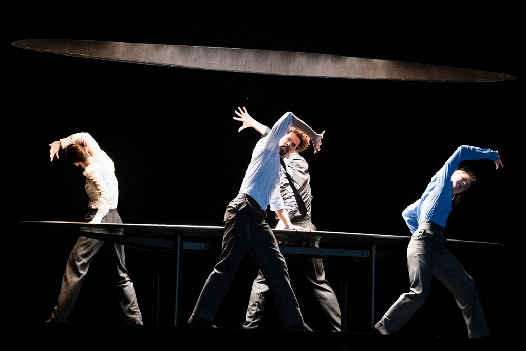 Kristen McNally, Joseph Sissens, Calvin Richardson and Ashley Dean in Crystal Pite's <I>The Statement</I>.<br />© Foteini Christofilopoulou, courtesy the Royal Opera House. (Click image for larger version)