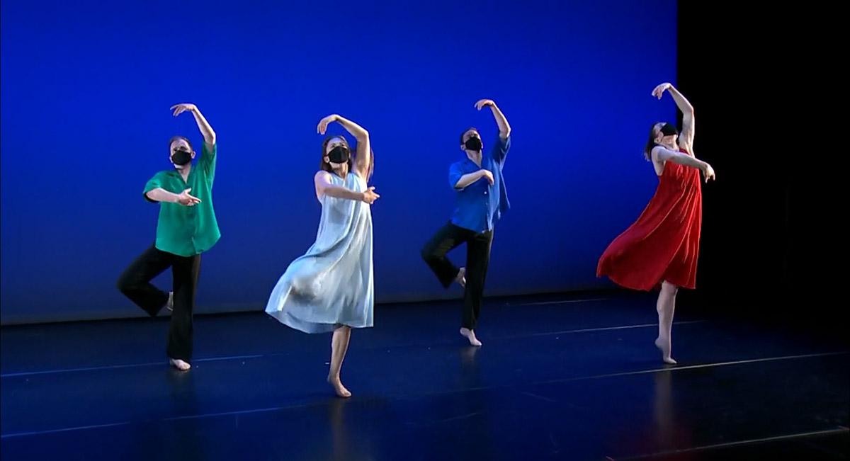 Dallas McMurray, Karlie Budge, Noah Vinson and Laurel Lynch in Tempus Perfectum.© Mark Morris Dance Group. (Click image for larger version)