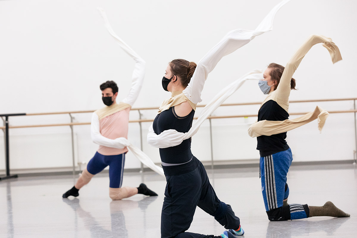 Eado Turgeman, Madeline Squire and Jamiel Laurence in rehearsal for Odyssey.© Tony Currie. (Click image for larger version)