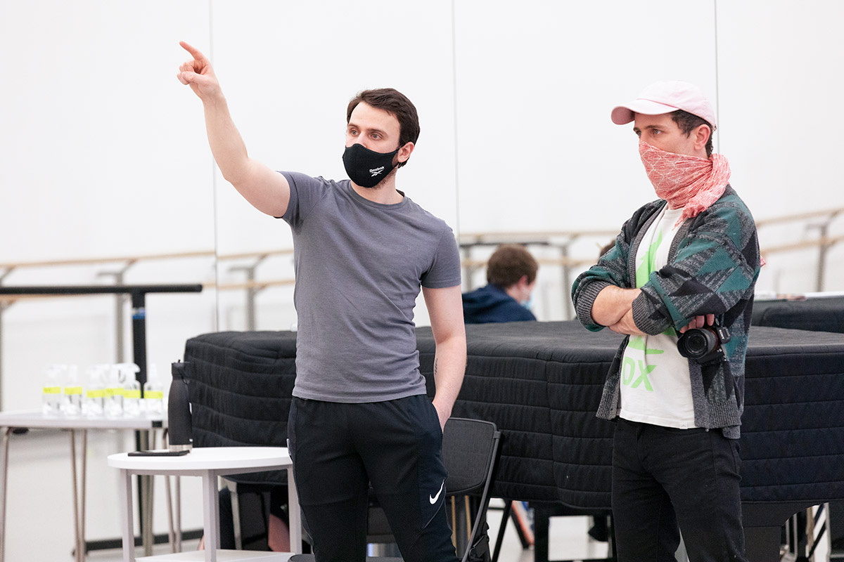 Nicholas Shoesmith and Director Ciaran Lyons in rehearsal for Odyssey at Scottish Ballet.© Tony Currie. (Click image for larger version)