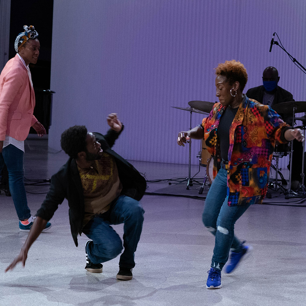 Michele Byrd-McPhee, Alain Lauture and LaTasha Barnes in <I>The Jazz Continuum</I>.<br />© Titus Ogilvie-Laing. (Click image for larger version)
