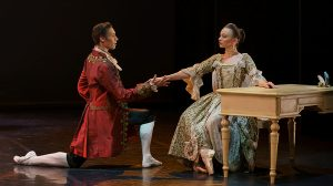 Abigail Prudames as the Marquise and Joseph Taylor as Valmont in Dangerous Liaisons.© Emma Kauldhar. (Click image for larger version)