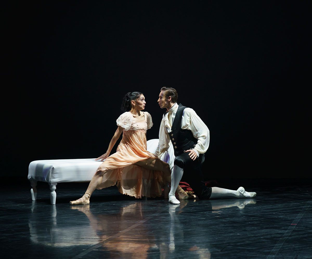 Rachael Gillespie as Cecile and Joseph Taylor as Valmont in Dangerous Liaisons.© Emma Kauldhar. (Click image for larger version)
