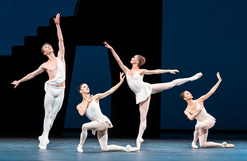 Vadim Muntagirov, Mayara Magri, Anna Rose O'Sullivan and Yasmine Naghdi in <I>Apollo</I>.<br />© Foteini Christofilopoulou, courtesy the Royal Opera House. (Click image for larger version)