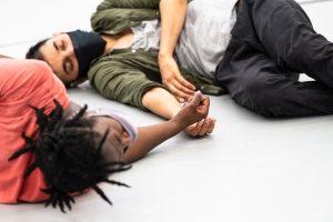 Mayowa Ogunnaike (Juliet) and Subhash Viman Gorania (Romeo) in Romeo + Juliet rehearsals.© Foteini Christofilopoulou. (Click image for larger version)