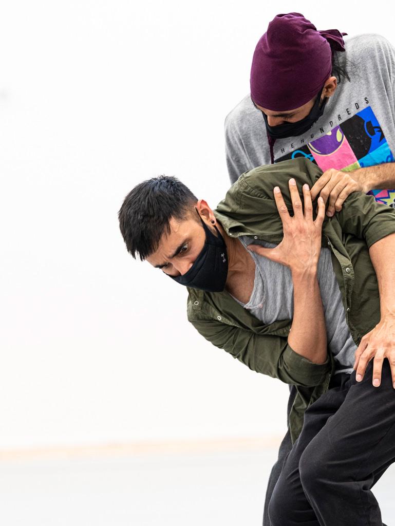 Subhash Viman Gorania (Romeo) and Deepraj Singh (Merc) in <I>Romeo + Juliet</I> rehearsals.<br />© Foteini Christofilopoulou. (Click image for larger version)