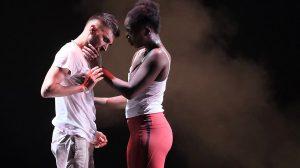 Mayowa Ogunnaike and Subhash Viman Gorania in Romeo + Juliet.© Brian Slater. (Click image for larger version)