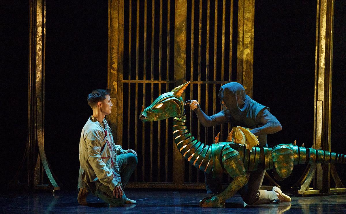 Kevin Poeung and Ashley Dixon in <I>Merlin</I>.<br />© Emma Kauldhar. (Click image for larger version)