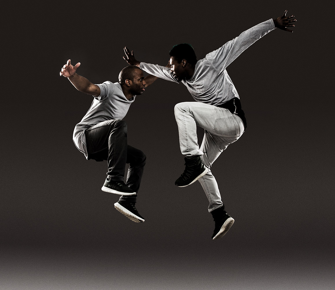 Matthew West and Omari Wiles in <I>ODEON</I> publicity image.<br />© Matthew Murphy. (Click image for larger version)