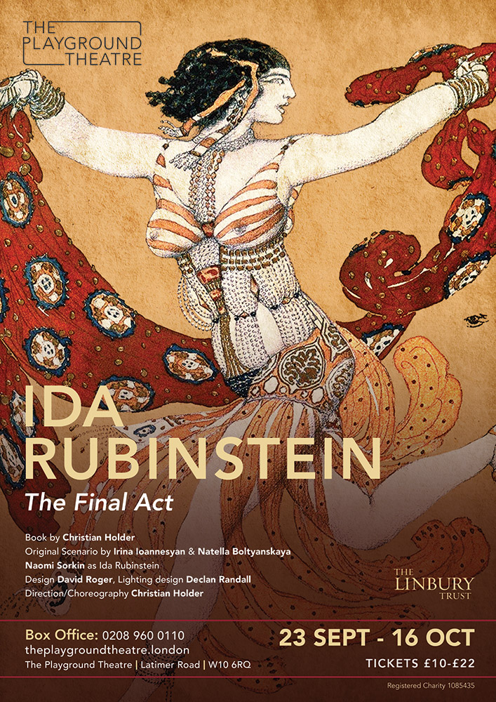 Poster for Ida Rubinstein: The Final Act.© The Playground Theatre. (Click image for larger version)